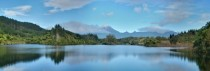 Mt Taranaki from Lake Mangamahoe in New Zealand