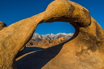 Mt Whitney framed by Mobius Arch Alabama Hills California
