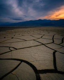 Mudcracks in Death Valley during sunrise