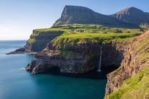 Mulafossur Waterfall in the Faroe Islands