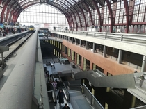 Multi level train station in antwerp Belgium  levels for trains and a level for shops  x