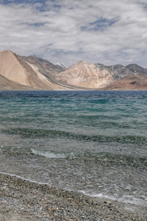 Multicolored lake Pangong Tso in Ladakh