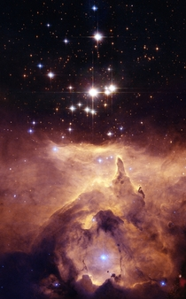 Multiple massive star system Pismis - in the emission nebula NGC