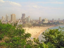 Mumbai India and Chowpatty Beach from Malabar Hill
