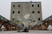 Mural at the top of abandoned grain silos SF