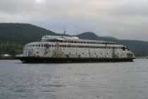 MV Kalakala a s art deco ferry slowly rusting away in Hylebos creek Washington