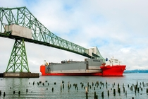 MV Marlin carries the largest floating drydock in the US Vigorous under the Astoria-Megler Bridge enroute to Portland Oregon   x-post rdrydockporn