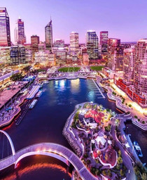My beautiful home city of Perth Western Australia Looking out over Elizabeth Quay and the CBD