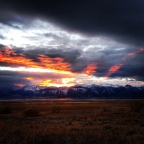 My cousin took this on his old iphone Sunset behind Mono lake