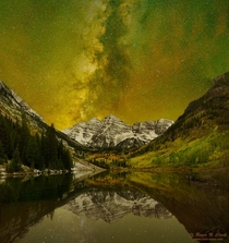 My dad is a USGS scientist spending his furlough creating shots like this in the Maroon Bells