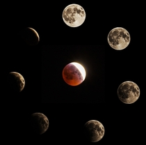 My eclipse and Blood Moon collage from Puyallup Washington