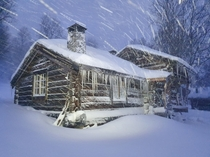 My familys -year-old cabin during a snowstorm this morning deep in the Norwegian mountains