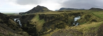 My favorite panorama from my trip to Iceland Above Skgafoss