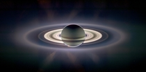 My favorite picture of Saturn by Cassini Notice Earth to the left right outside the bright band