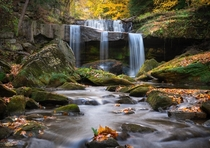 My favorite waterfall especially during Autumn when the leaves begin to change Fortunate enough for this to only be seven miles up the road Northeast Ohio US