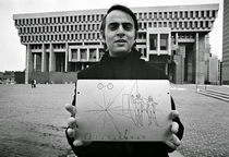 My favourite scientist Dr Carl Sagan holding the famous Pioneer plaque