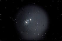 My first attempt at a stacked image of the whirlpool galaxy I think it turned out pretty good