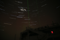 My first attempt at star trails over the South Pole Atmospheric Research amp Observation Facility with bonus iridium flares and lidar lasers