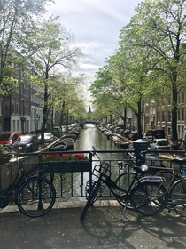 My first but favorite photo while in Amsterdam Just a random canal   x