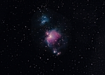 My first deep sky object The Orion nebula and the running Man Nebula Stacked about  frames