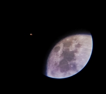 My first ever pic of a celestial body Moon and Mars from the lens of my  telescope