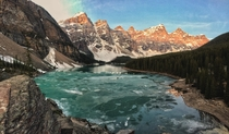 My first ever post and not the best quality but Sunrise over a slowly melting Moraine Lake AB last week