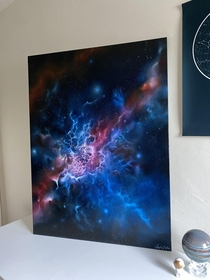 My first large oil abstract nebula painting OC
