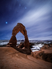 My First Time in Arches National Park Hiked in the Moonlight to the Delicate Arch and Took This Photo