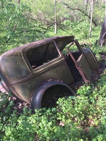 My friend came across this abandoned car two miles deep in the woods outskirts of Hennepin Illinois