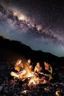 My friends and I under the milky way in Glenorchy New Zealand back in July Picture taken by my buddy on the left South of Home Photography