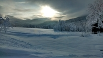 My front porch view a couple of days ago Telemark in Norway  Photo taken with Motorola potato
