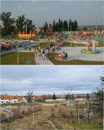 My hometowns famous landmark the now abandoned Bambi Park upper pic from  lower one from this morning