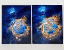 My  hour digital painting of astrofalls image of Orion Nebula - M my painting is on the right his photo is on the left OC