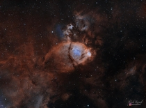 My image of the Fish Head Nebula consisting of h of exposure time