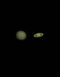 My nd try at astrophotography Jupiter and Saturn taken from my cellphone