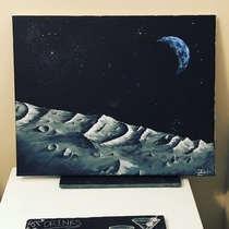 My painting standing in a crater far far away