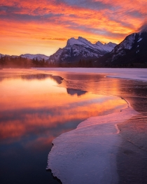 My personal favorite sunrise moment at Vermillion lakes in Banff Canada