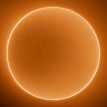 My photo of Mercury passing in front of the Sun This is an HDR composite image of the  hour long transit
