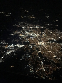 My really bad cell phone pic from an airplane of beautiful Fort Wayne IN