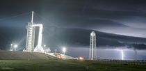 My remote camera catches lightning in the final hours before Crew Dragon launches to ISS