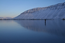 My small town safjrur in Skutulsfjrur Iceland The fjord was frozen over and the weather was great Photo taken by Gsli Halldr