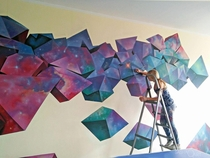 My space textured abstract crystals acrylic paints on wall
