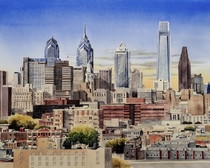 My watercolor painting of Philly skyline x