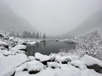 My wife and I went on a winter hike to Heather Lake in Mount Baker National Forest in Washington State USA A gallery of pics and gifs