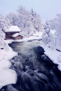 Myllykoski rapid along Kitka river in the winter Finland