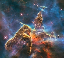 Mystic Mountain in the Carina Nebula taken by the Hubble Space Telescope