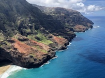 Na Pali Coast Kauai from a helicopter