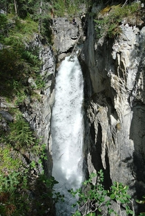 Nameless falls my friend and I found while hiking off the Icefields parkway in Cananda  x Can you see me at the top