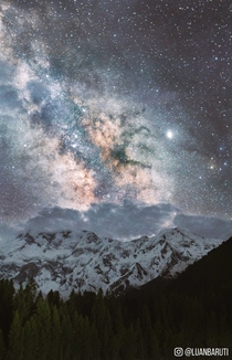 Nanga Parbat as seen at night from Fairy Meadows Pakistan