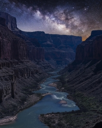 Nankoweap at Night the Colorado River as seen below Nankoweap in the Grand Canyon at night Arizona US by Matt Payne